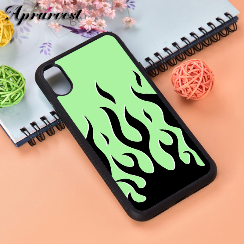 Aprarvest žalia liepsna Silikono Guma Telefono Case Cover For iPhone 5 5S SE 6 6S 7 8 PLUS X XS XR MAX PRO 11