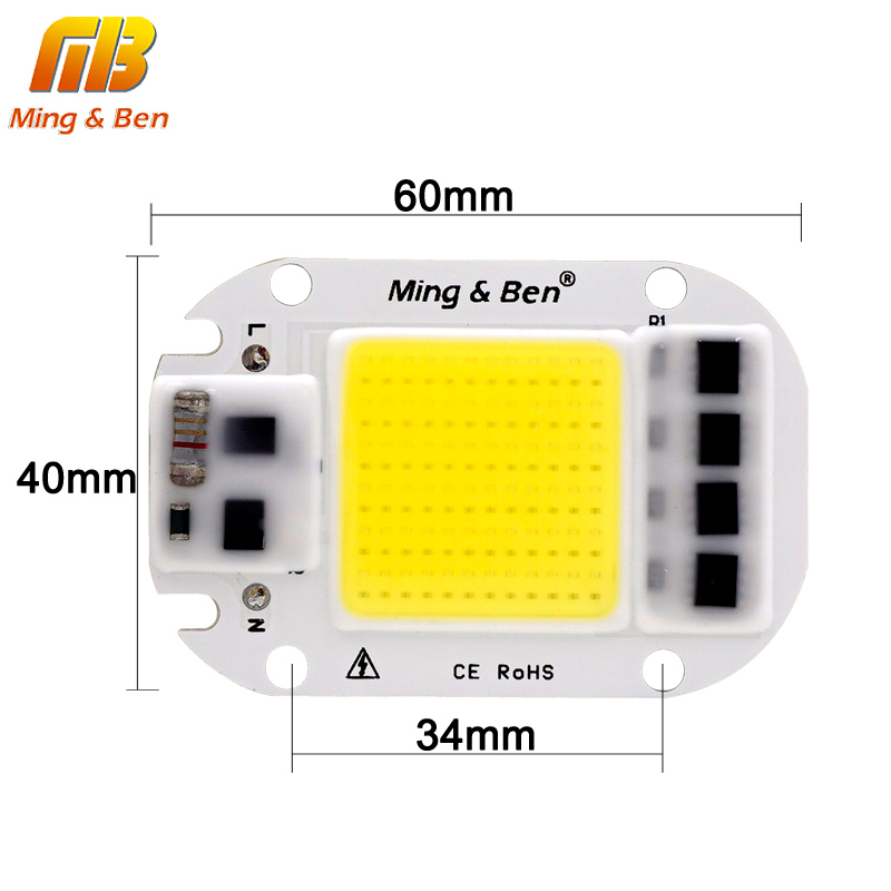 LED, COB Lempos Chip 20W 30W 50W 70W 100W 150W AC 110V, 220V, IP65 Smart IC Tinka